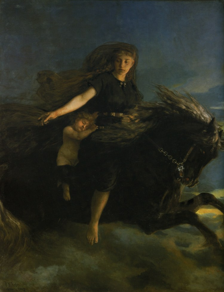 A painting of Rimfaxe and Natt by Peter Nicolai Arbo